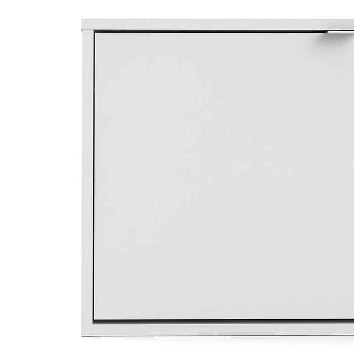 Function 3 Tilting Door White Shoe Cabinet - FurniComp