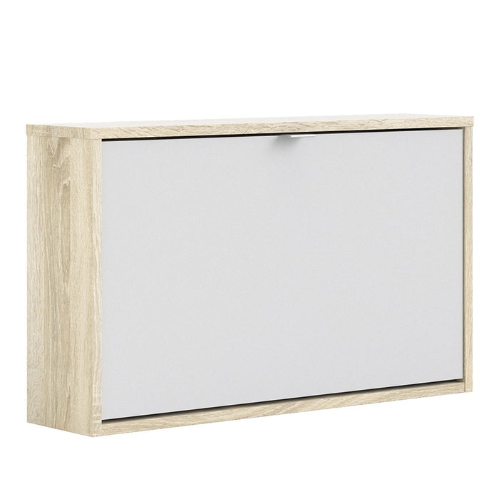 Function 1 Tilting Door White and Oak Shoe Cabinet - FurniComp