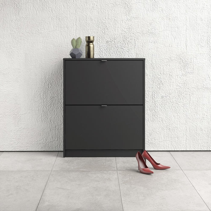 Function 2 Tilting Door 2 Layer Black Shoe Cabinet - FurniComp