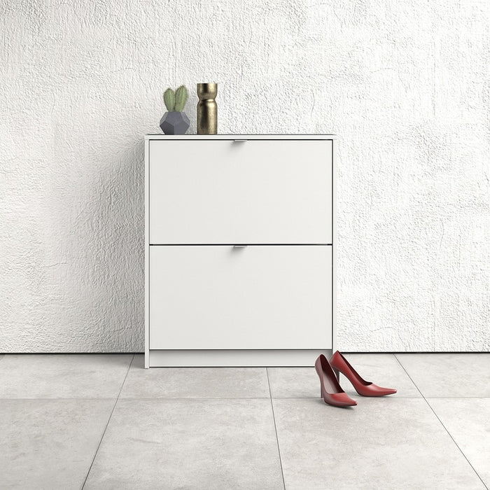 Function 2 Tilting Door 2 Layer White Shoe Cabinet - FurniComp