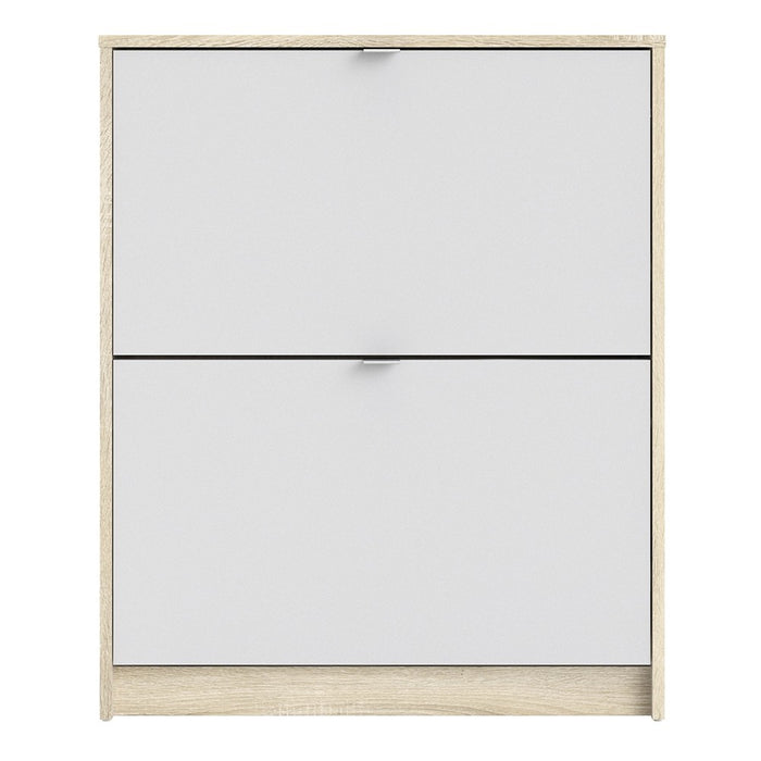 Function 2 Tilting Door 2 Layer White and Oak Shoe Cabinet - FurniComp