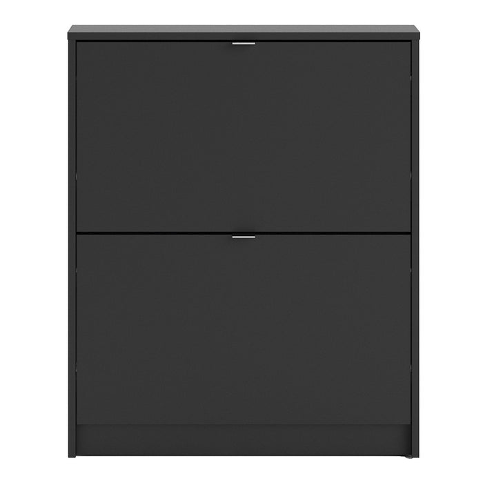 Function 2 Tilting Door Black Shoe Cabinet - FurniComp
