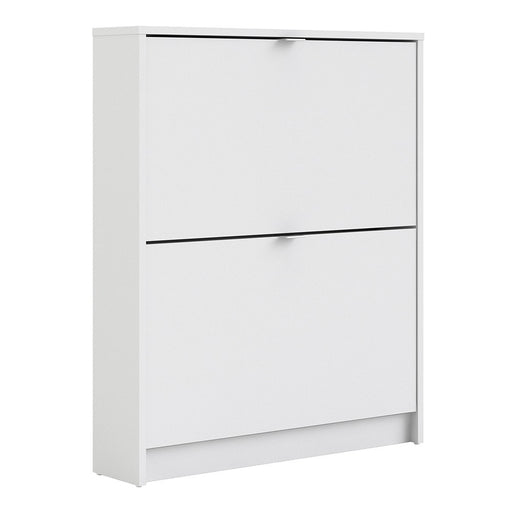 Function 2 Tilting Door White Shoe Cabinet - FurniComp
