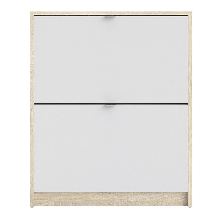 Function 2 Tilting Door White and Oak Shoe Cabinet - FurniComp