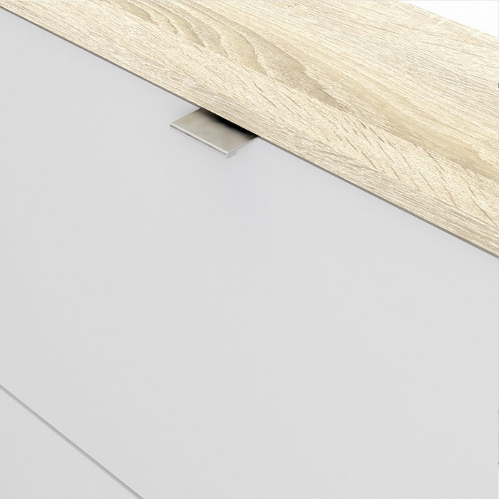 Function 4 Tilting Door White and Oak Shoe Cabinet - FurniComp