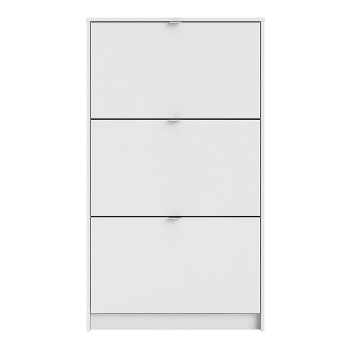 Function 3 Tilting Door 2 Layer White Shoe Cabinet - FurniComp