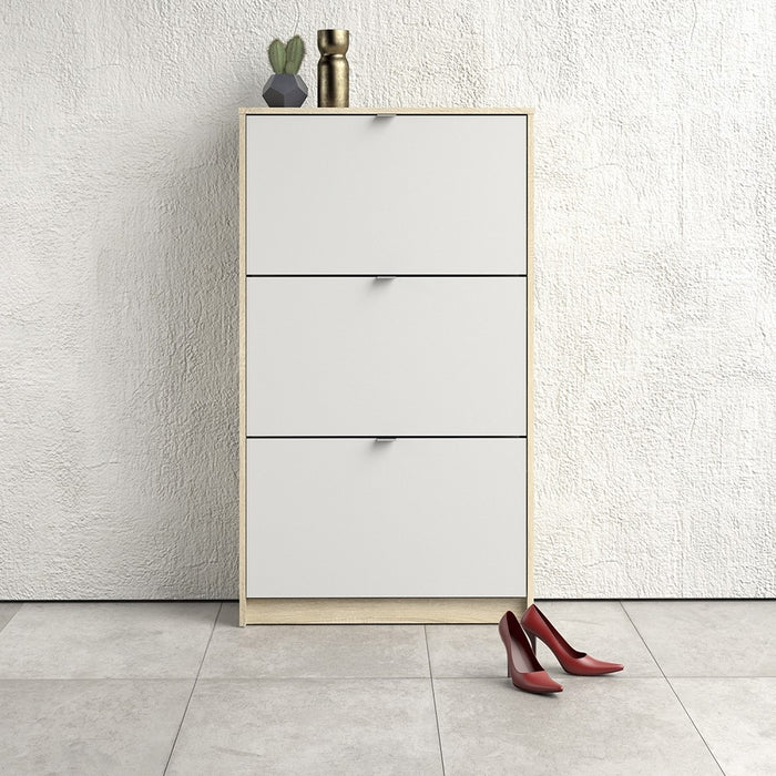 Function 3 Tilting Door 2 Layer White and Oak Shoe Cabinet - FurniComp
