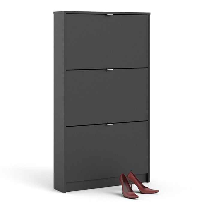 Function 3 Tilting Door Black Shoe Cabinet - FurniComp