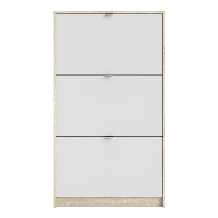 Function 3 Tilting Door White and Oak Shoe Cabinet - FurniComp
