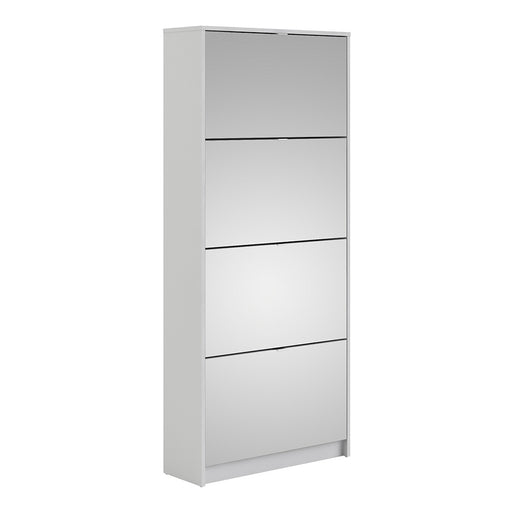 Function 4 Tilting Door 2 Layer White Mirrored Shoe Cabinet
