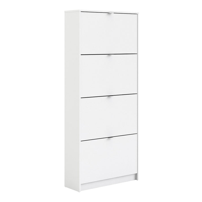 Function 4 Tilting Door 2 Layer White Shoe Cabinet - FurniComp