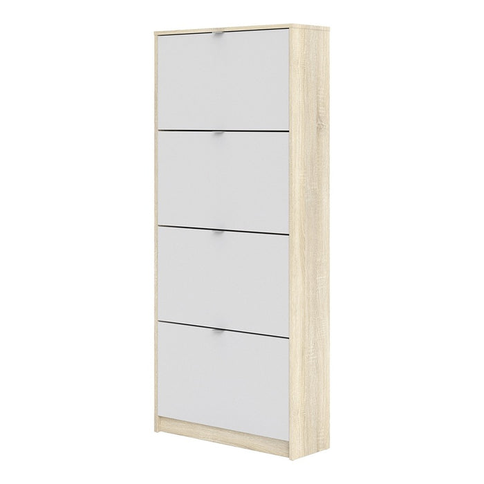 Function 4 Tilting Door 2 Layer White and Oak Shoe Cabinet - FurniComp