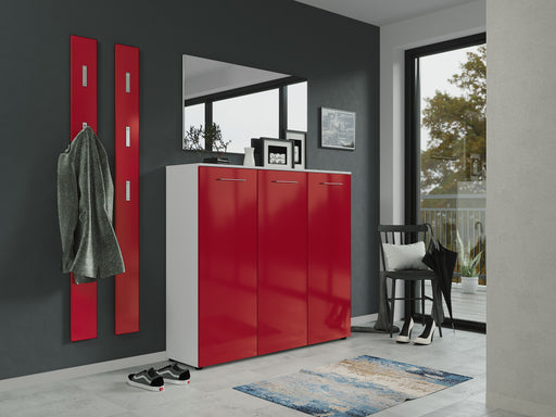Cali 3 Door High Gloss Red Large Shoe Cabinet - FurniComp