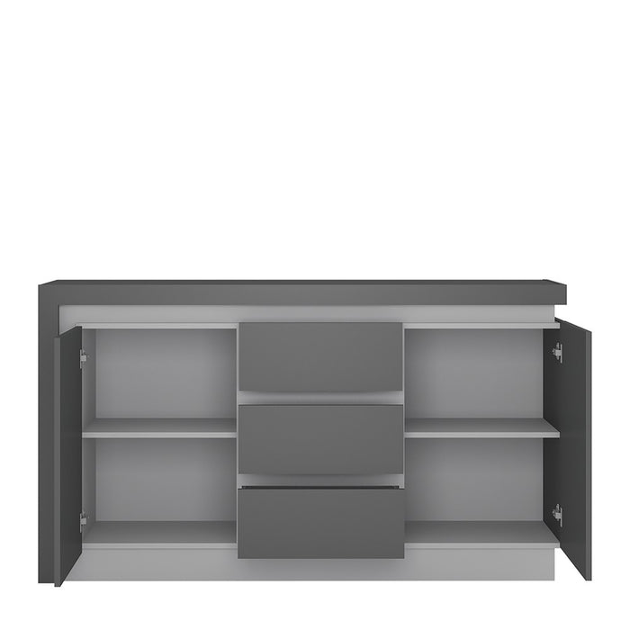 Geneva 2 Door 3 Drawer Platinum and Light Grey Gloss LED Sideboard - FurniComp