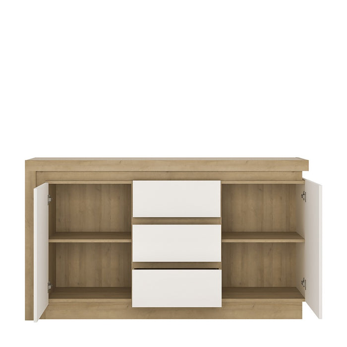 Geneva 2 Door 3 Drawer White High Gloss and Oak LED Sideboard - FurniComp