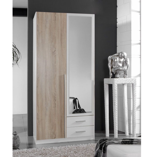 Geneva 2 Door and 2 Drawer White And Oak Effect Mirrored Wardrobe
