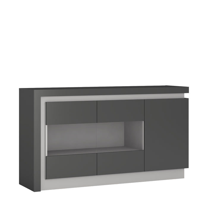 Geneva 3 Door Platinum and Light Grey Gloss LED Glass Sideboard - FurniComp