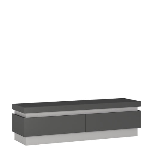 Geneva Light Grey Gloss 2 Drawer LED TV Unit - FurniComp