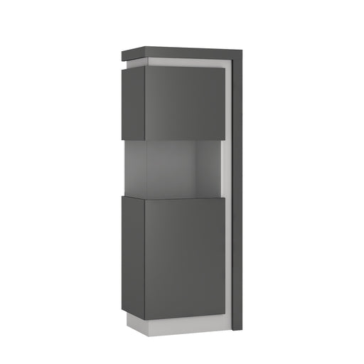 Geneva Platinum And Light Grey Gloss Narrow LED Display Cabinet (LHD) - FurniComp