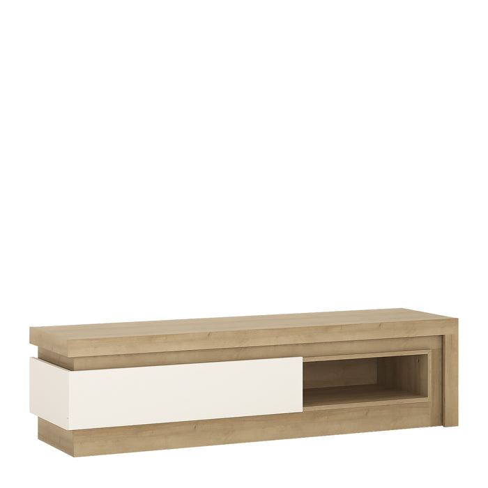 Geneva White Gloss and Oak 1 Drawer LED TV Unit - FurniComp