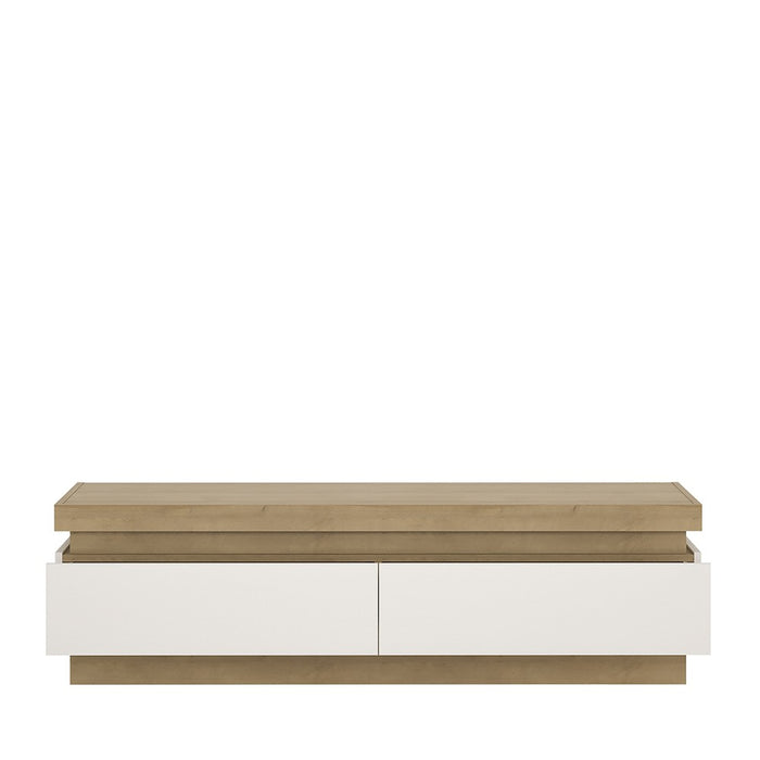 Geneva White Gloss and Oak 2 Drawer LED TV Unit - FurniComp