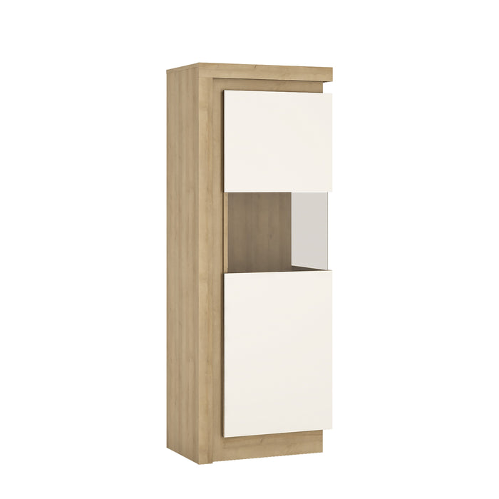 Geneva White High Gloss And Oak Narrow LED Display Cabinet (RHD) - FurniComp