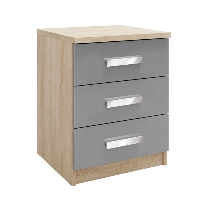 Georgia 3 Drawer High Gloss Grey and Oak Bedside - FurniComp