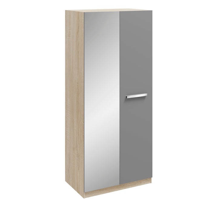 Georgia High Gloss Grey and Oak 2 Door Mirrored Wardrobe - FurniComp