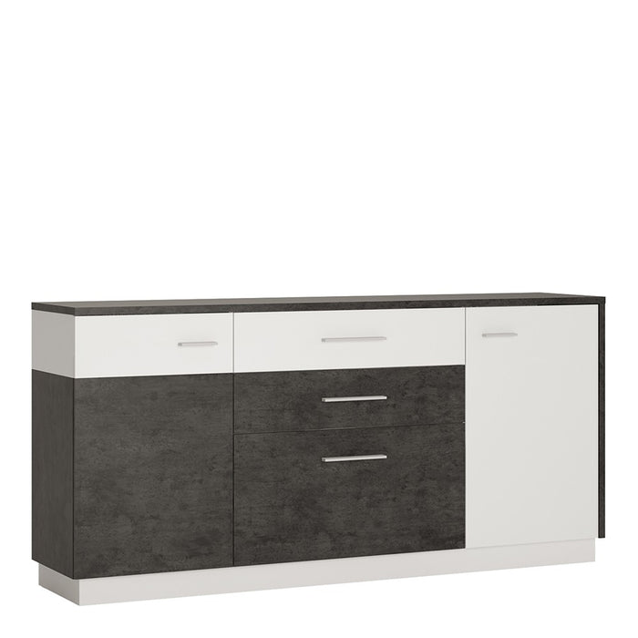 Giotto 2 Door 2 Drawer Slate Grey and Alpine White Sideboard - FurniComp
