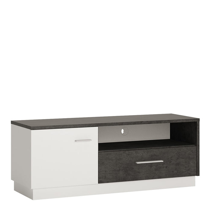 Giotto Grey and Alpine White 1 Door 1 Drawer TV Unit - FurniComp