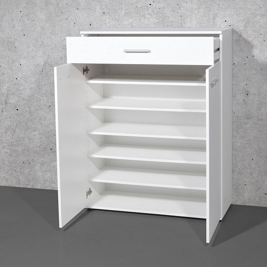Giotto Shoe Cabinet In White With 2 Doors And Drawer SC1008