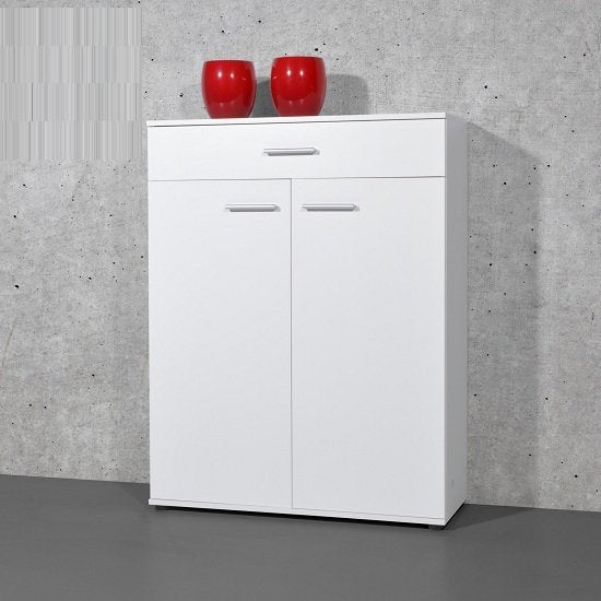 Giotto Shoe Cabinet In White With 2 Doors And Drawer SC1008 - FurniComp