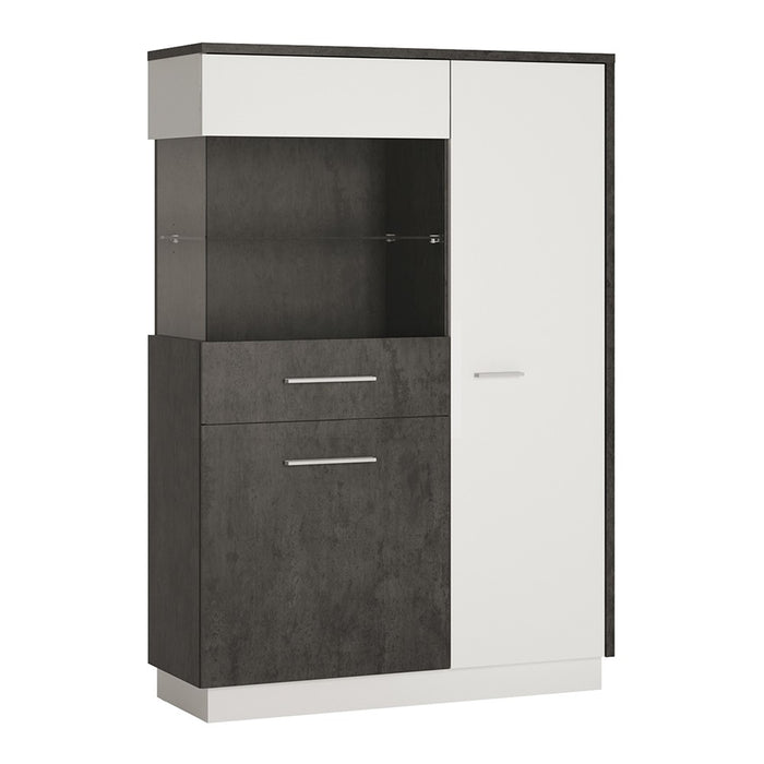 Giotto Slate Grey And Alpine White Low Display Cabinet (LH) - FurniComp