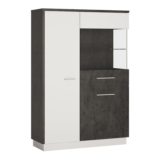 Giotto Slate Grey And Alpine White Low Display Cabinet (RH) - FurniComp