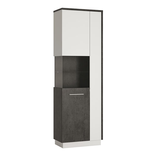 Giotto Slate Grey And Alpine White Tall Display Cabinet (LH) - FurniComp