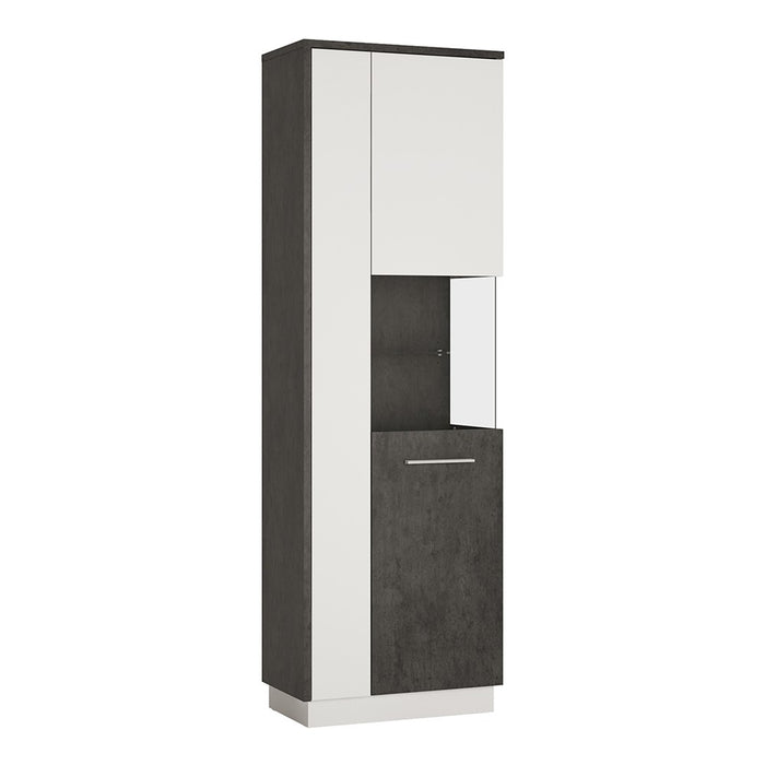 Giotto Slate Grey And Alpine White Tall Display Cabinet (RH) - FurniComp