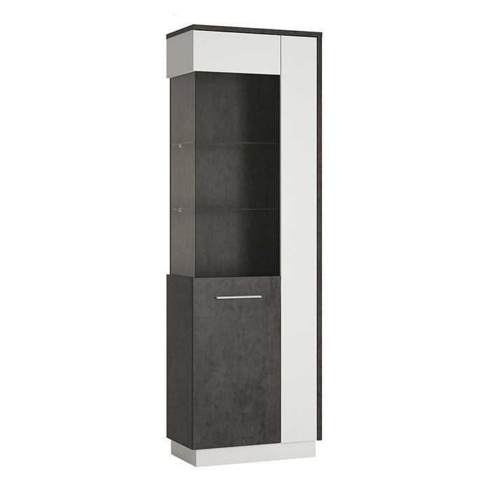 Giotto Slate Grey And Alpine White Tall Glazed Display Cabinet (LH) - FurniComp