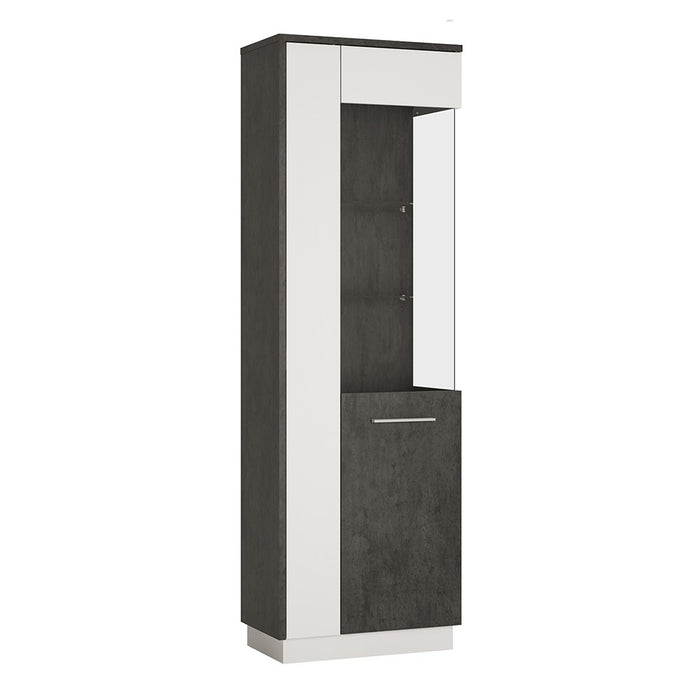 Giotto Slate Grey And Alpine White Tall Glazed Display Cabinet (RH) - FurniComp