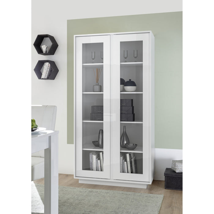 Glacia 2 Door White Gloss Glass Display Cabinet - FurniComp