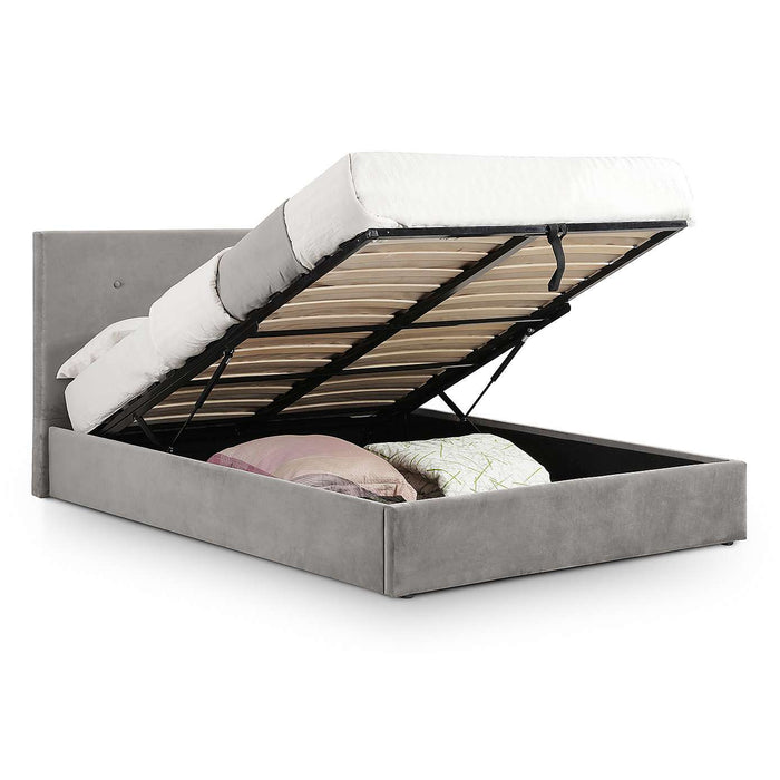 Haggerston Slate Grey Velvet Lift Up Storage Bed - FurniComp