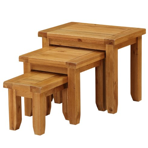 Hales Solid Oak 3 Piece Nest Of Table Set
