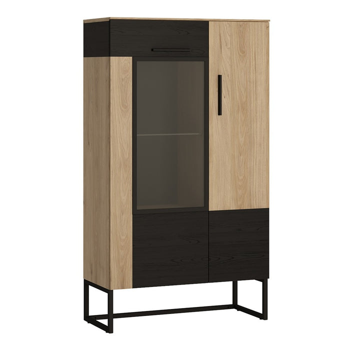 Huelva Black and Jackson Hickory Low & Wide Display Cabinet - FurniComp
