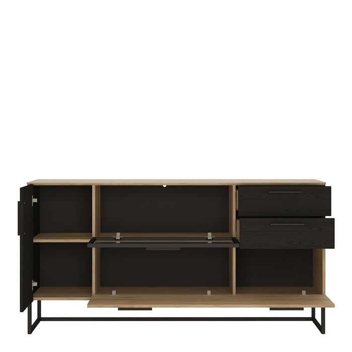 Huelva Light Glazed and Black 3 Door 2 Drawer Sideboard - FurniComp
