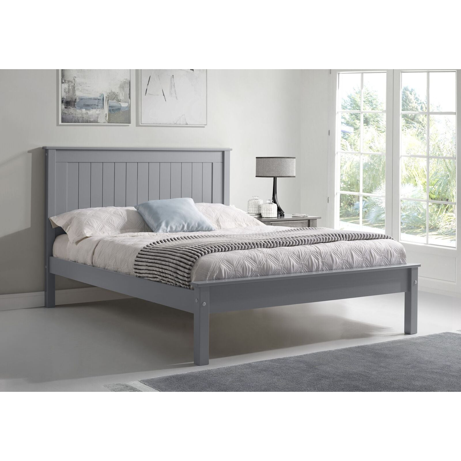 Kara Grey Painted Low Foot End Wooden Bed Frame Furnicomp