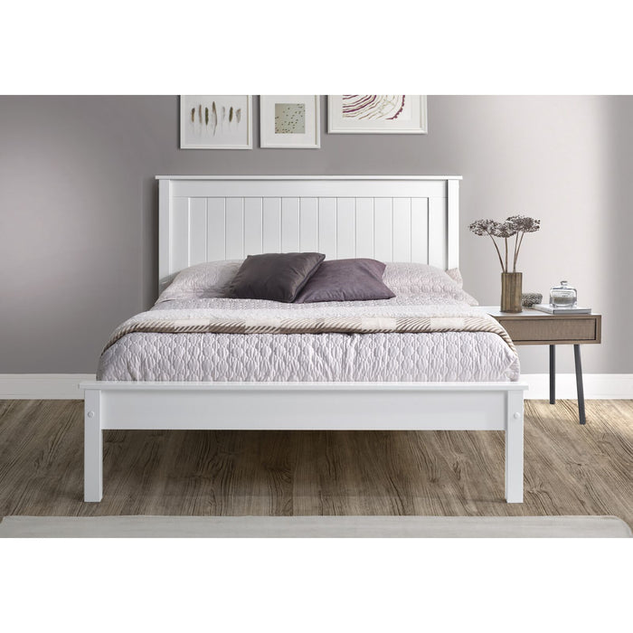 Kara White Painted Low Foot End Wooden Bed Frame - FurniComp