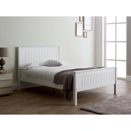Kara White Painted Wooden Bed Frame - FurniComp