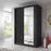 Klassy 2 Door 150cm Black Mirrored Sliding Door Wardrobe KL-04 - FurniComp
