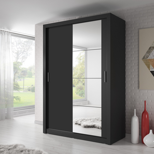 Klassy 2 Door 150cm Black Mirrored Sliding Door Wardrobe KL-04