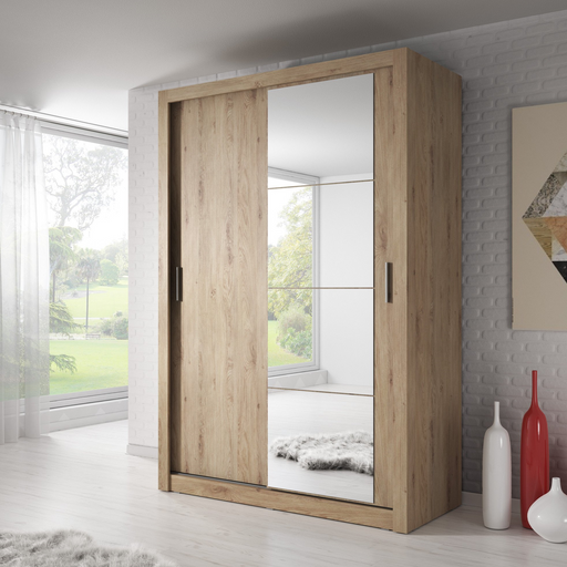 Klassy 2 Door 150cm Shetland Oak Mirrored Sliding Door Wardrobe KL-04 - FurniComp