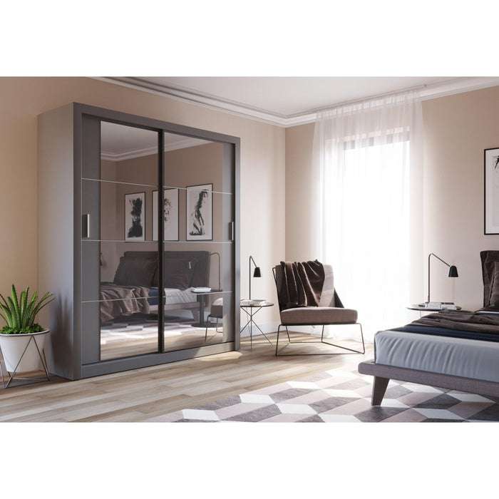 Klassy 2 Door 181cm Grey Mirrored Sliding Door Wardrobe KL-03